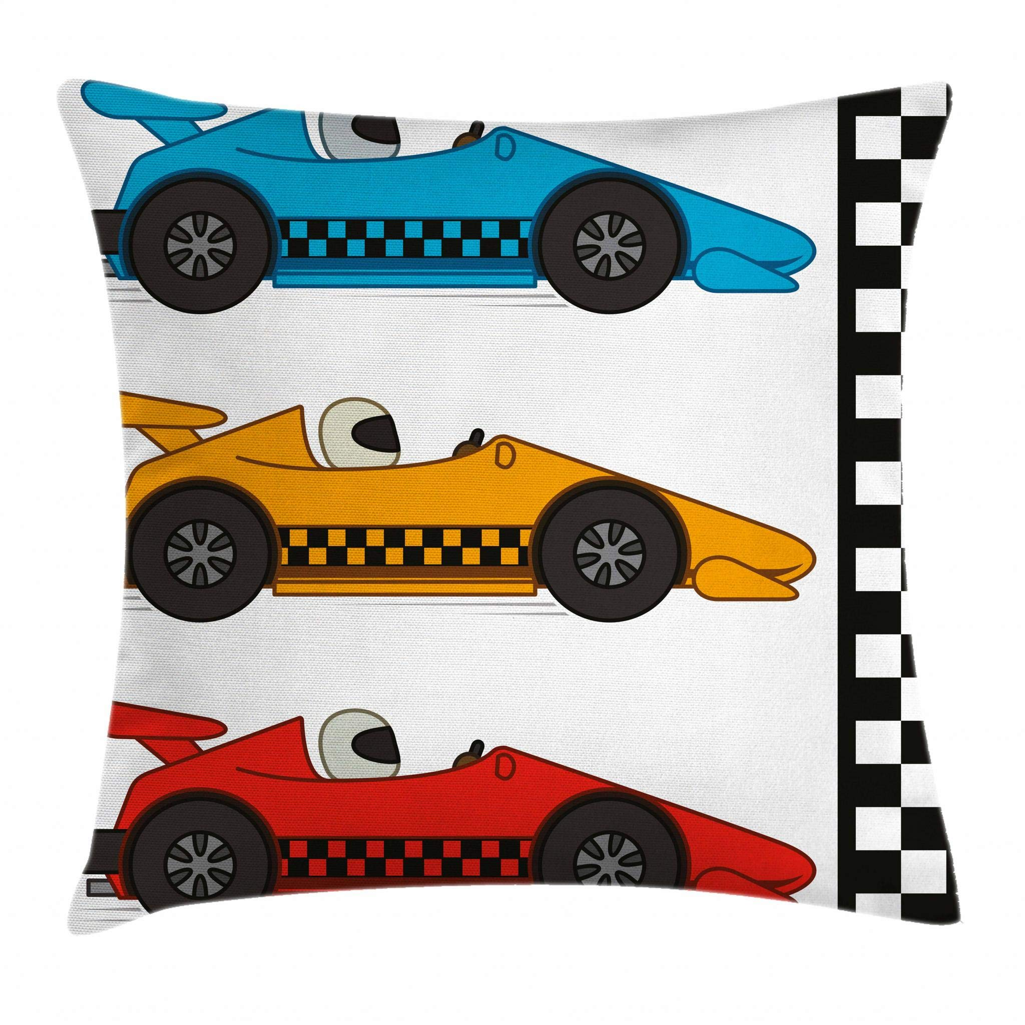 Lunarable Boy's Room Throw Pillow Cushion Cover, Race Cars at Start Line Adrenaline Exotic Sports Championship Artsy Theme, Decorative Square Accent Pillow Case, 18 X 18 Inches, Marigold Blue Red