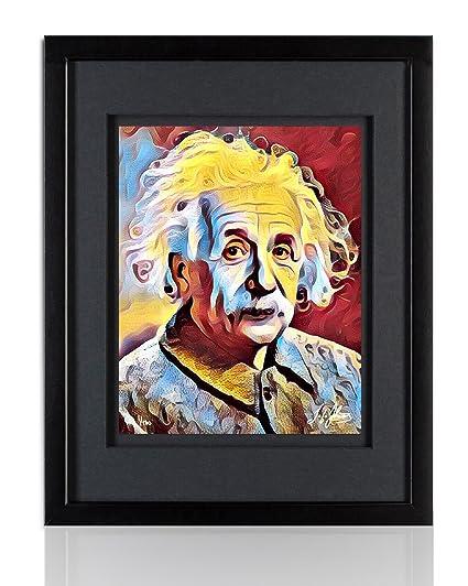 Amazon.com: Albert Einstein Framed Wall Art by TGTHURKETTLE. Hand ...