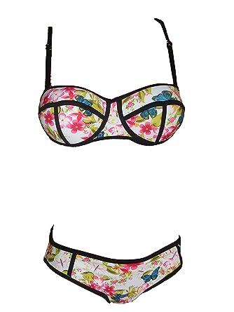 Armature Bikini Pièces Bain Dessin Maillot 2 Femme Bandeau De Nn8k0wXOP