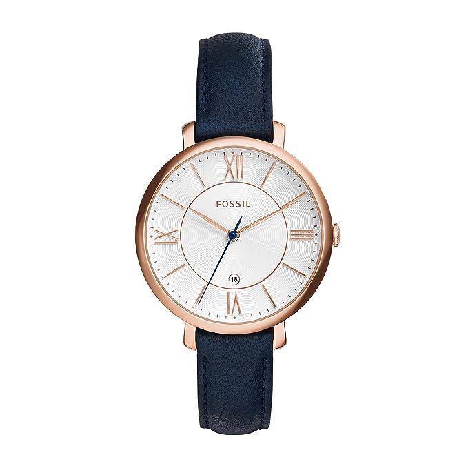 Fossil Jacqueline ES3843 Reloj de Cuero para Mujer, Azul Marino