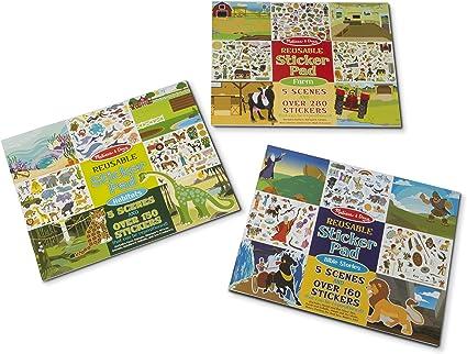 Gift for Boy or Girl 3+ Adventure Activity Pad Sticker Pad Melissa /& Doug Reusable Sticker Pad