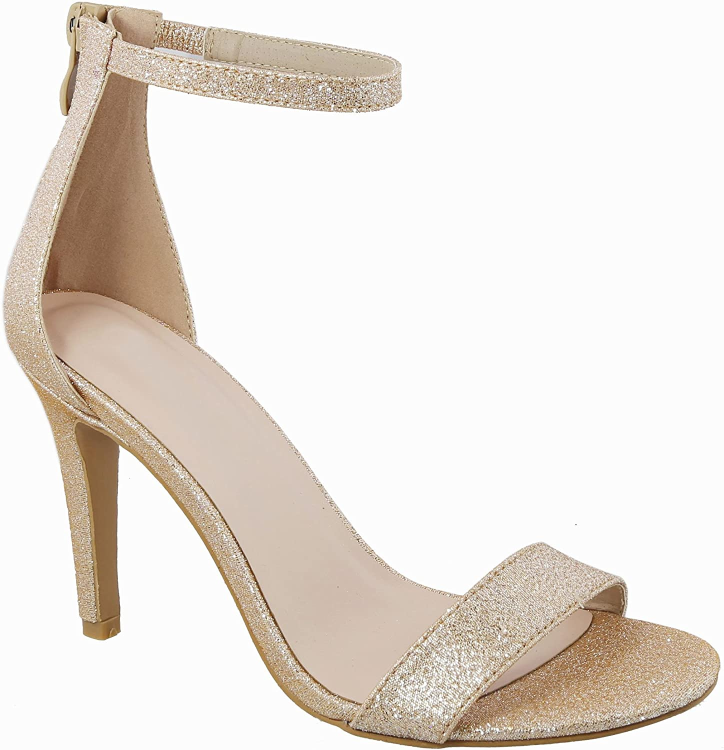 Womens Stiletto Heels Sandal Ankle Strap Fashion-Forward Dress Party Heel Summer Wedding Party Evening Shoes Champagne 7.5