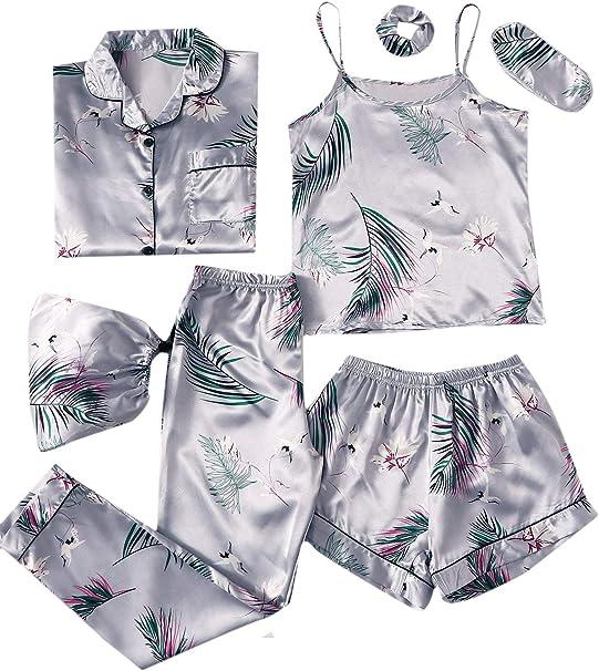 SheIn - Juego de pijama para mujer, 7 piezas, con camisa y antifaz ...