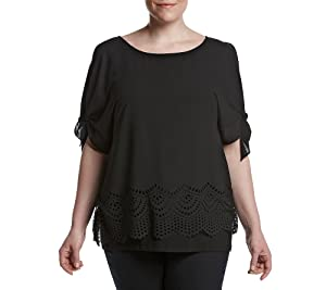 AGB Plus Size Scalloped Cold Shoulder Top 2X