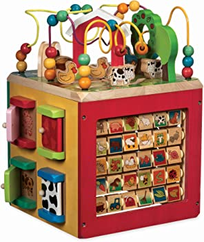 Battat Farm Animals Wooden Activity Cube For Babies