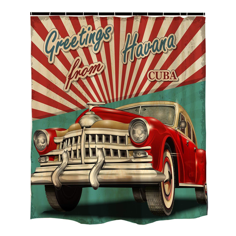 Orange Design Vintage Car Shower Curtain Havana Cuba Poster 1950s Style Nostalgic Retro Curtian 72x72 Inch For Bathroom Home Decor