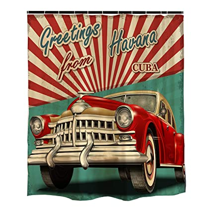 Orange Design Vintage Car Shower Curtain Havana Cuba Poster 1950s Style Nostalgic Retro Curtian