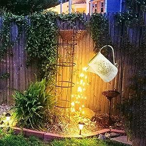Star Shower Garden Art LED Light with Stake Firefly Bunch Lights Fairy Copper Wire Waterproof String Lights, Vine Solar Watering Can Lights Outdoor Garden Eid Mubarak Easter Metal Decor Lights (06)