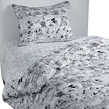 Ethan Allen | Disney Mickey Mouse Comic Strip Duvet Cover, Mickey's Ears (Black), King