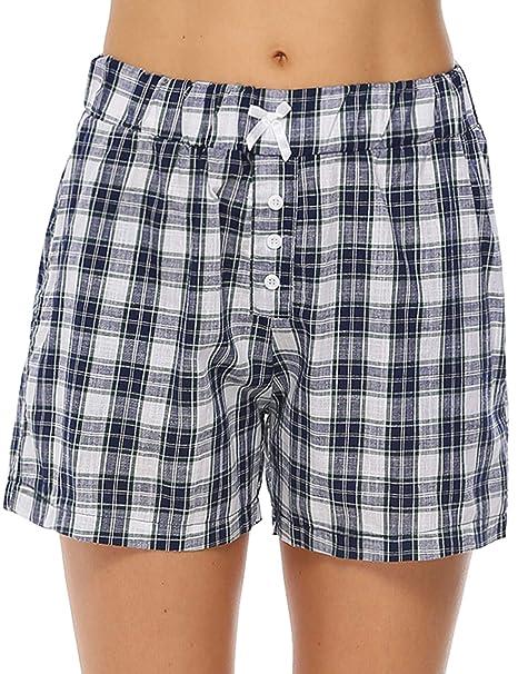 c5884f2b631 Aibrou Womens Pajama Shorts Cotton Plaid Sleep Shorts Lounge Boxer with  Pockets (Blue, Small