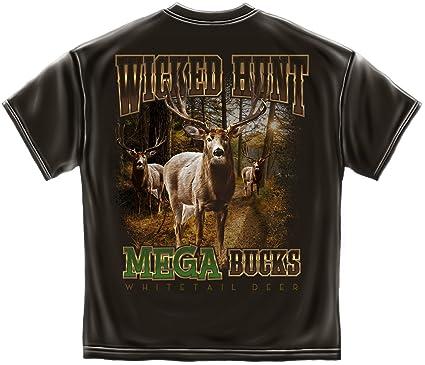 19aac9e8ad99 Amazon.com  Mega Bucks Deer Hunter T Shirt WH133  Clothing
