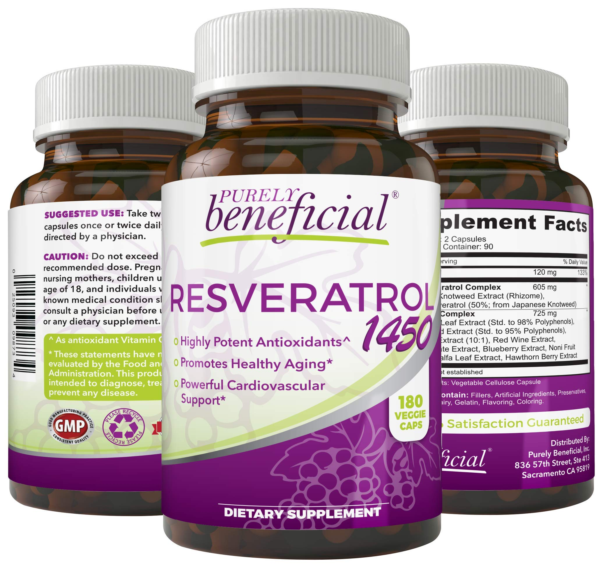 RESVERATROL1450-90day Supply, 1450mg per Serving of Potent Antioxidants & Trans-Resveratrol, Promotes Anti-Aging, Cardiovascular Support, Maximum Benefits by PURELY beneficial
