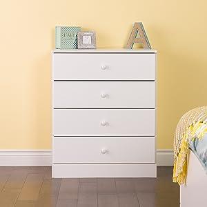 Prepac Astrid 4 Drawer Dresser, White