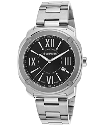 Wenger 01-1141-118 Mens Edge Romans Stainless Steel Black Dial Watch