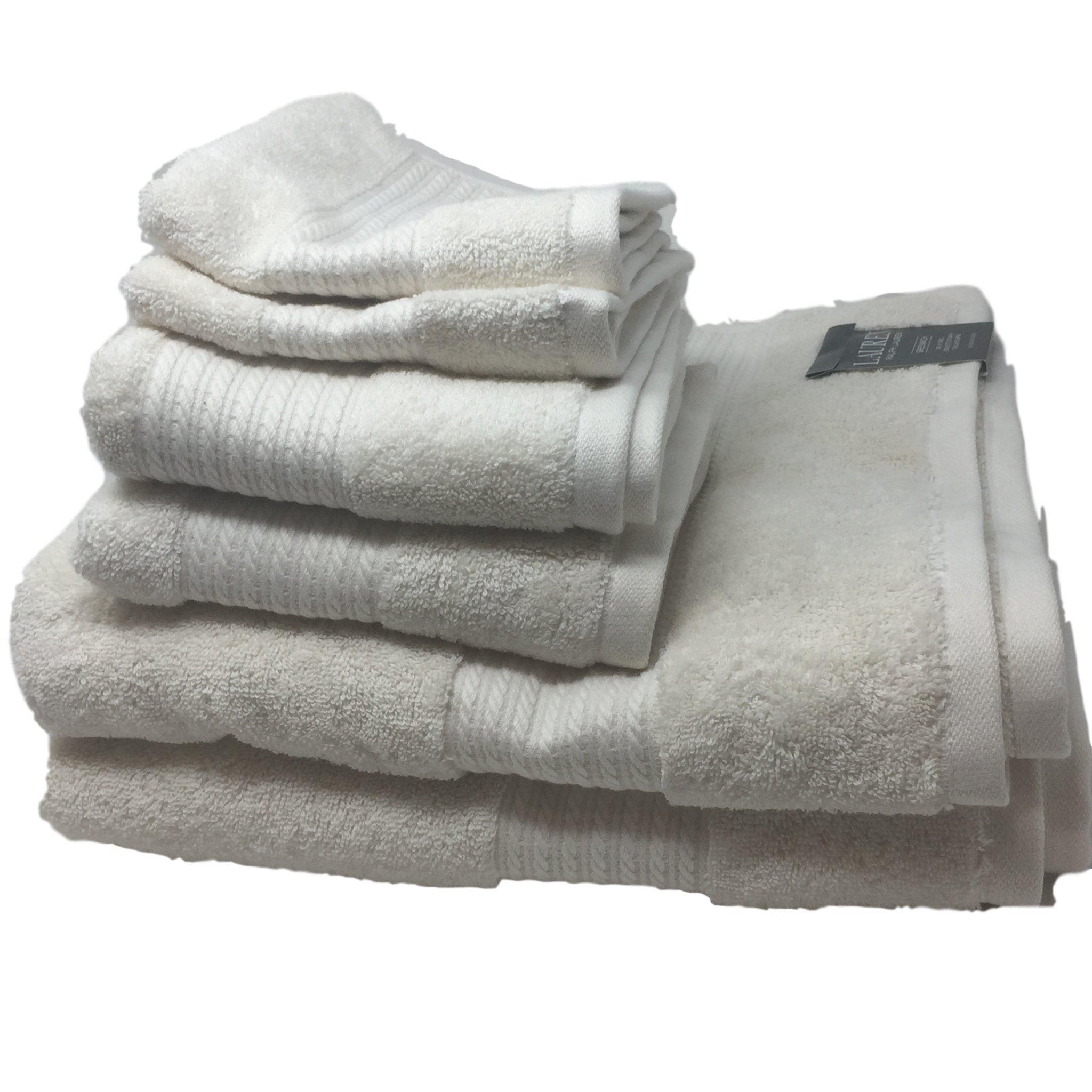 Lauren Ralph Lauren Greenwich Cream Towel 6 Piece Set Bundle - 2 Bath Towels, 2 Hand Towels, 2 Washcloths