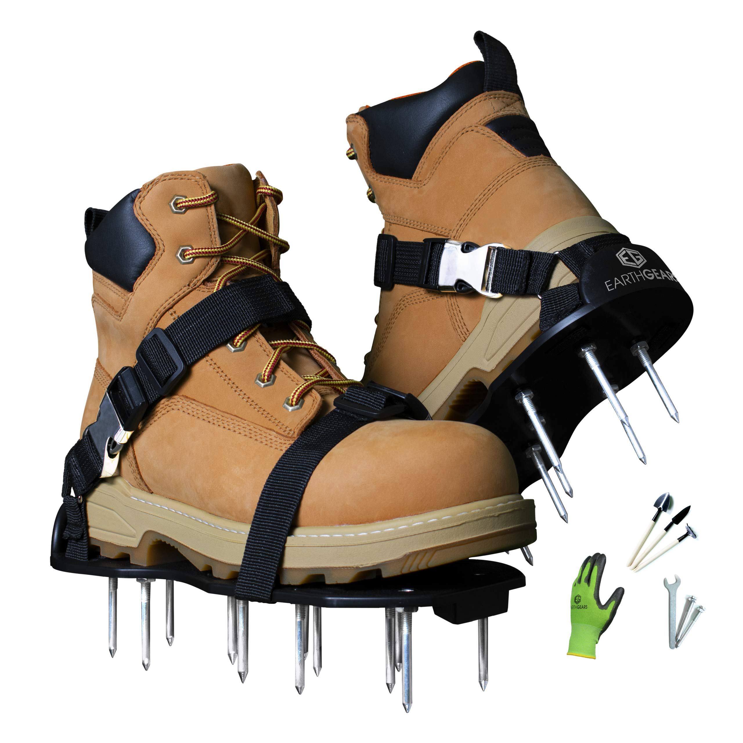 Earthgears [2019 Upgraded Model] Lawn Aerator Shoes Fully Assembled E-Z FIT Strap System, Heel Support, 2.4'' Spikes.2'' Hardened Soles Bonus- 3 Shovels, 1 Pair of Bamboo Gloves, Extra Spikes by Earthgears