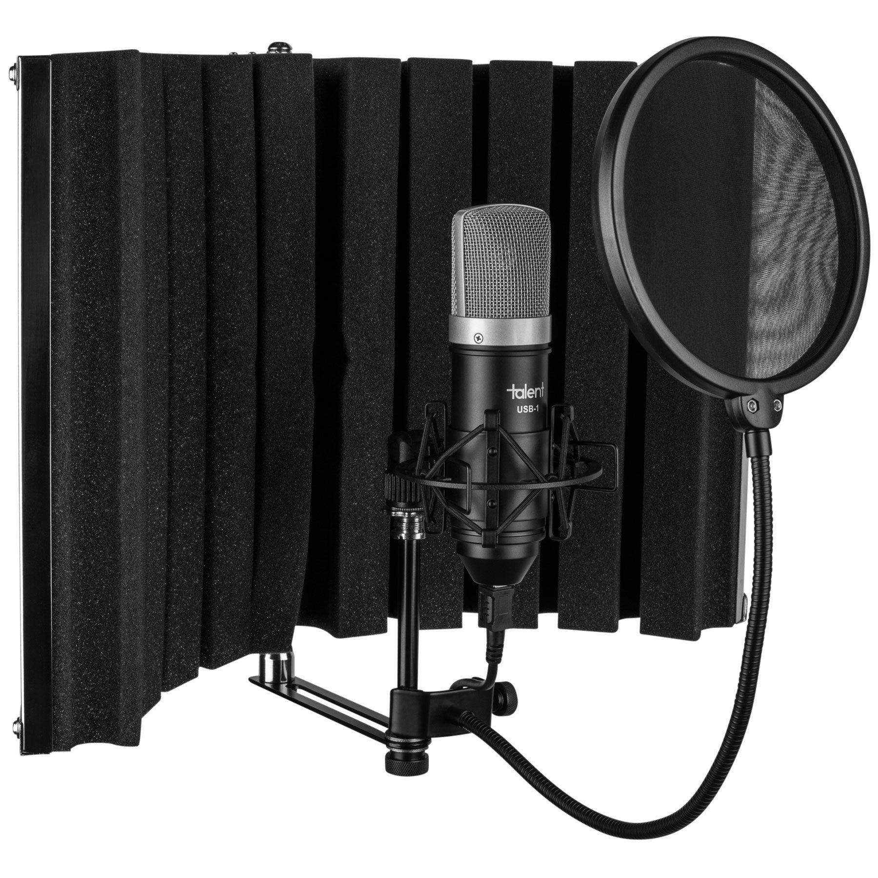 Talent All-in-One USB Home Recording Studio - Vocal Booth - USB Mic - Shock Mount - Pop Filter by Talent Sound & Lighting