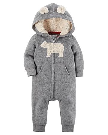 2ab4cb36c Amazon.com  Carters Baby Boys Fleece Hooded Romper Jumpsuit
