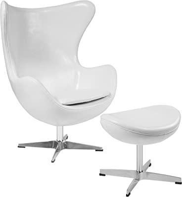 Flash Furniture Melrose White Leather Egg Chair with Tilt-Lock Mechanism and Ottoman
