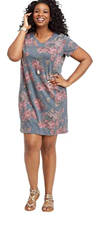 maurices Women\'s Plus Size Floral Short Sleeve T-Shirt Dress at ...