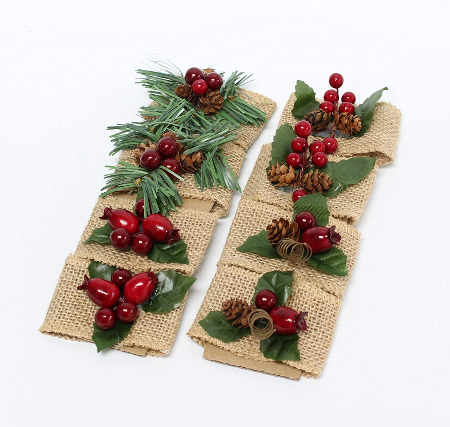 1 x 2 in, 6 Pack Farmlyn Creek Christmas Tree Napkin Rings Set