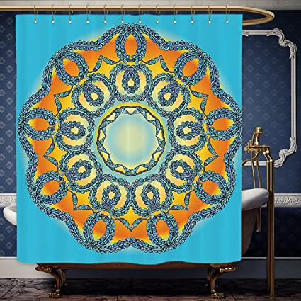 Wanranhome Custom Made Shower Curtain Mandala Decor Oriental Traditional Icon With Interlace Swirled Zen