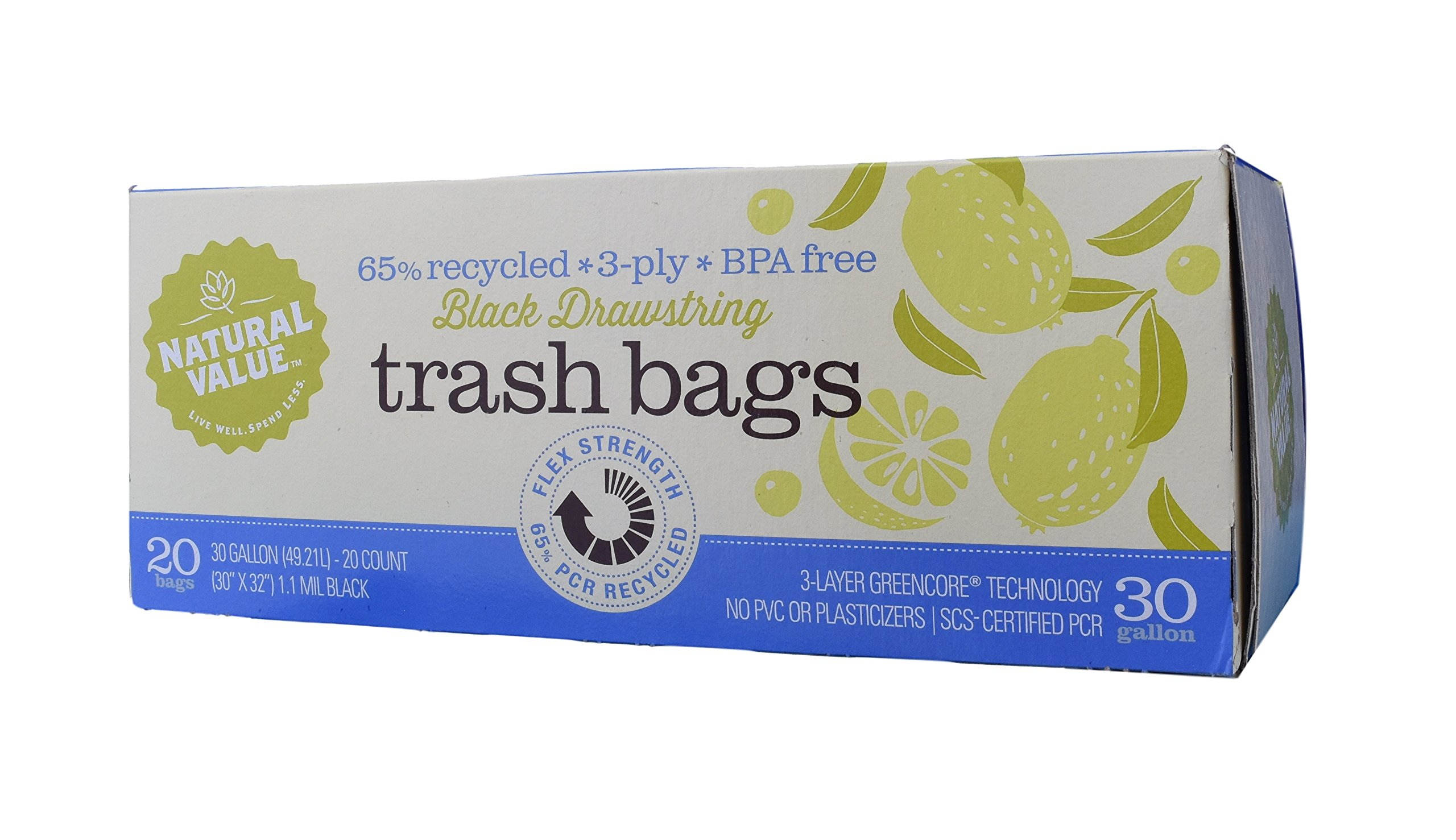 Natural Value - Black Drawstring Trash Bags - 30 Gallon - 20 Count - Pack of 2