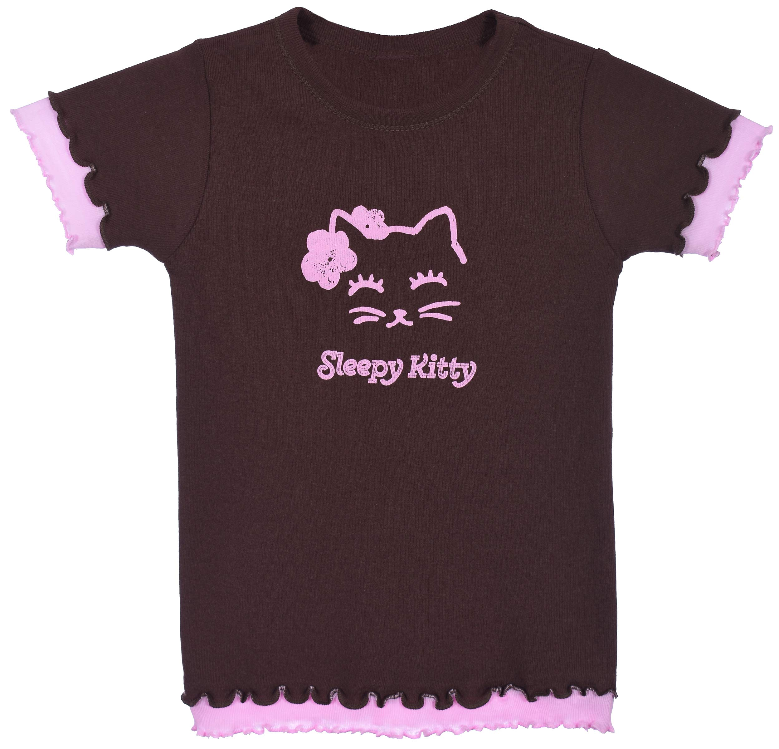 JH DESIGN GROUP Girls Super Cute Sleepy Kitty Chocolate Brown & Pink Shirt with Ruffle Finish (2T, Brown & Pink)