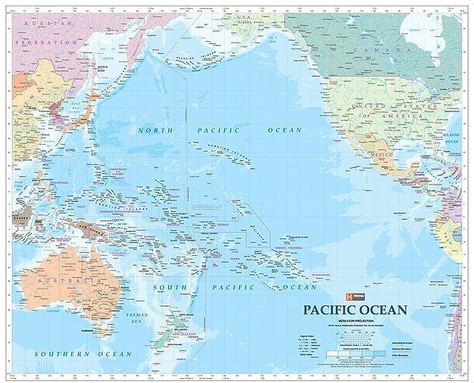 Mapa de pared del Océano Pacífico - papel de 34