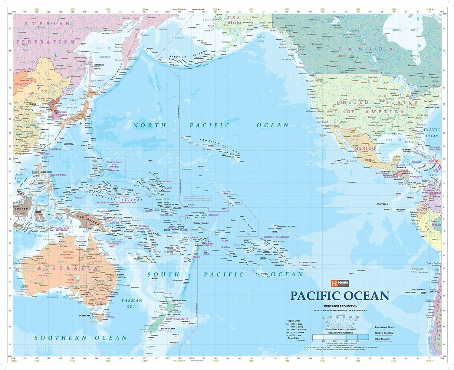 pacific ocean on a map Pacific Ocean Wall Map 35 X 28 5 Matte Plastic Amazon In pacific ocean on a map