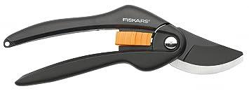 Fiskars Sécateur à lames franches, Revêtement antiadhésif des lames en acier haute qualité, Longueur: 20 cm, Diamètre de coupe: 2,2 cm, Noir/Orange, SingleStep, P26, 1000567