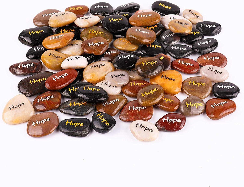 """RockImpact 100 """"Hope Piedras Grabadas, Piedra de Palabra, Piedra de Afortunada, Rocas Inspiradoras, Piedras de Agradecimiento, Guijarros Decorativos (al por Mayor, Hope, 5-8 cm Cada uno)"""