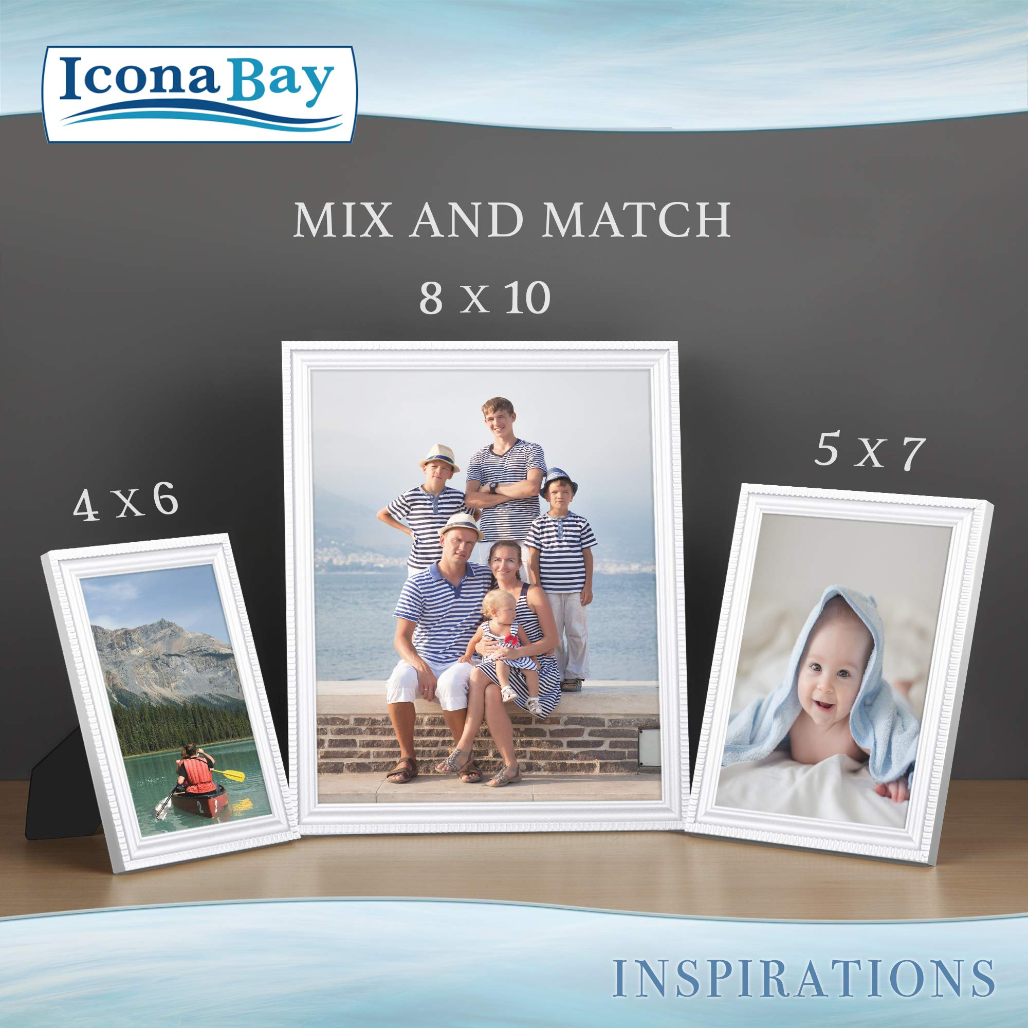 Icona Bay 8x10 Picture Frames (6 Pack, White) Picture Frame Set, Wall Mount or Table Top, Set of 6 Inspirations Collection by Icona Bay (Image #7)