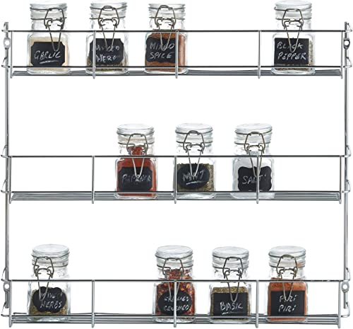 VonShef 3 Tier Spice Rack Chrome Plated Easy Fix For Herbs and Spices Suitable for Wall Mount or Inside Cupboard