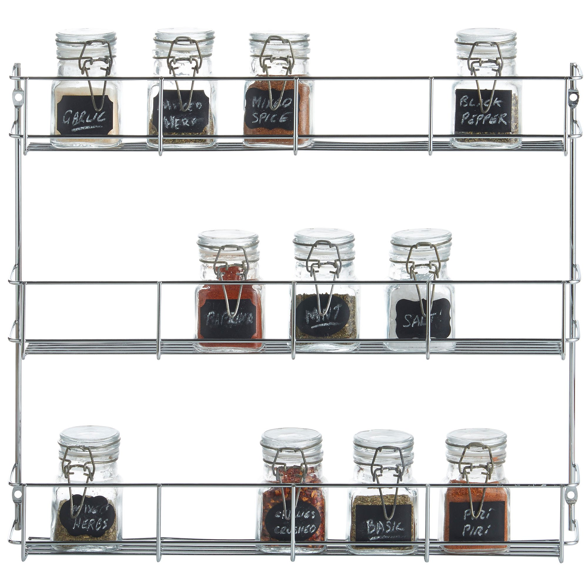 VonShef 3 Tier Spice Rack Chrome Plated (Easy Fix) For Herbs and Spices Suitable for Wall Mount or Inside Cupboard