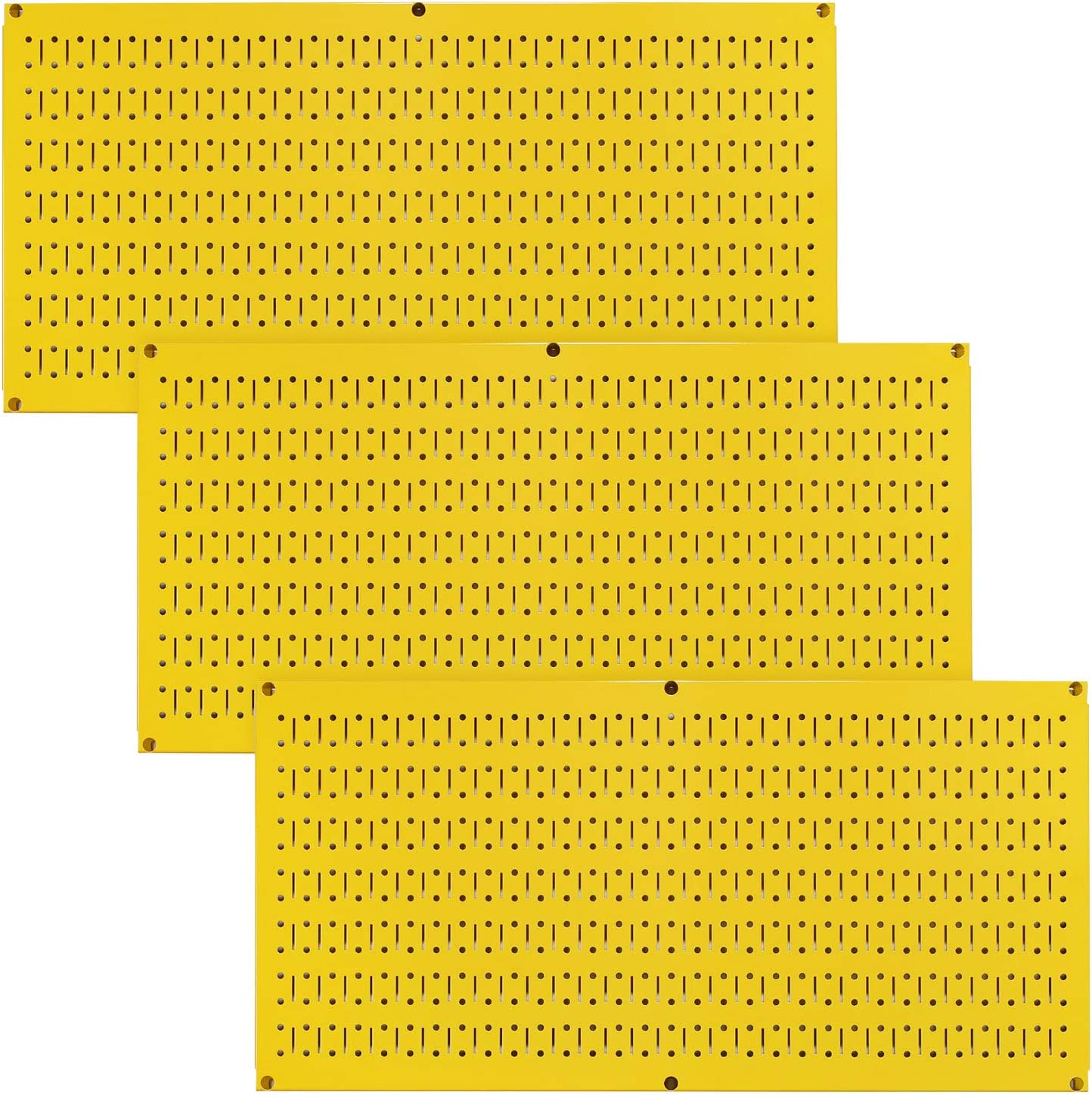 Wall Control Pegboard Value Pack - (3) Pack of Wall Control 16-Inch Tall x 32-Inch Wide Horizontal Yellow Metal Pegboards for Wall Home & Garage Tool Storage Organization (Yellow Pegboard)