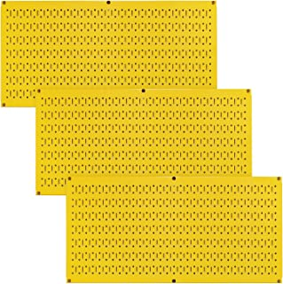 product image for Wall Control Pegboard Value Pack - (3) Pack of Wall Control 16-Inch Tall x 32-Inch Wide Horizontal Yellow Metal Pegboards for Wall Home & Garage Tool Storage Organization (Yellow Pegboard)
