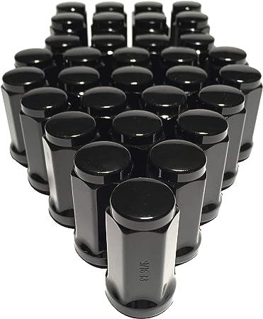 16 Lug Nuts Long Bulge Acorn 1//2 XL Tall Black 1//2-20