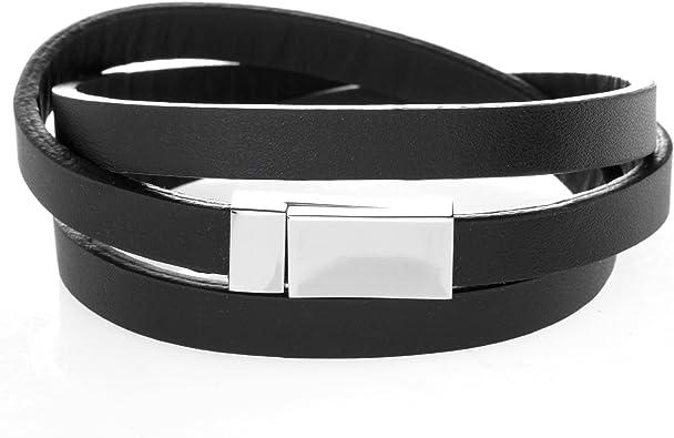Bracelet homme cuir noir triple agrafage largeur 8 mm avec