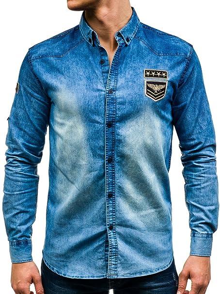 bb73bf152b BOLF – Camicia di Jeans – Uomo –Slim Fit – Motivo – 2B2