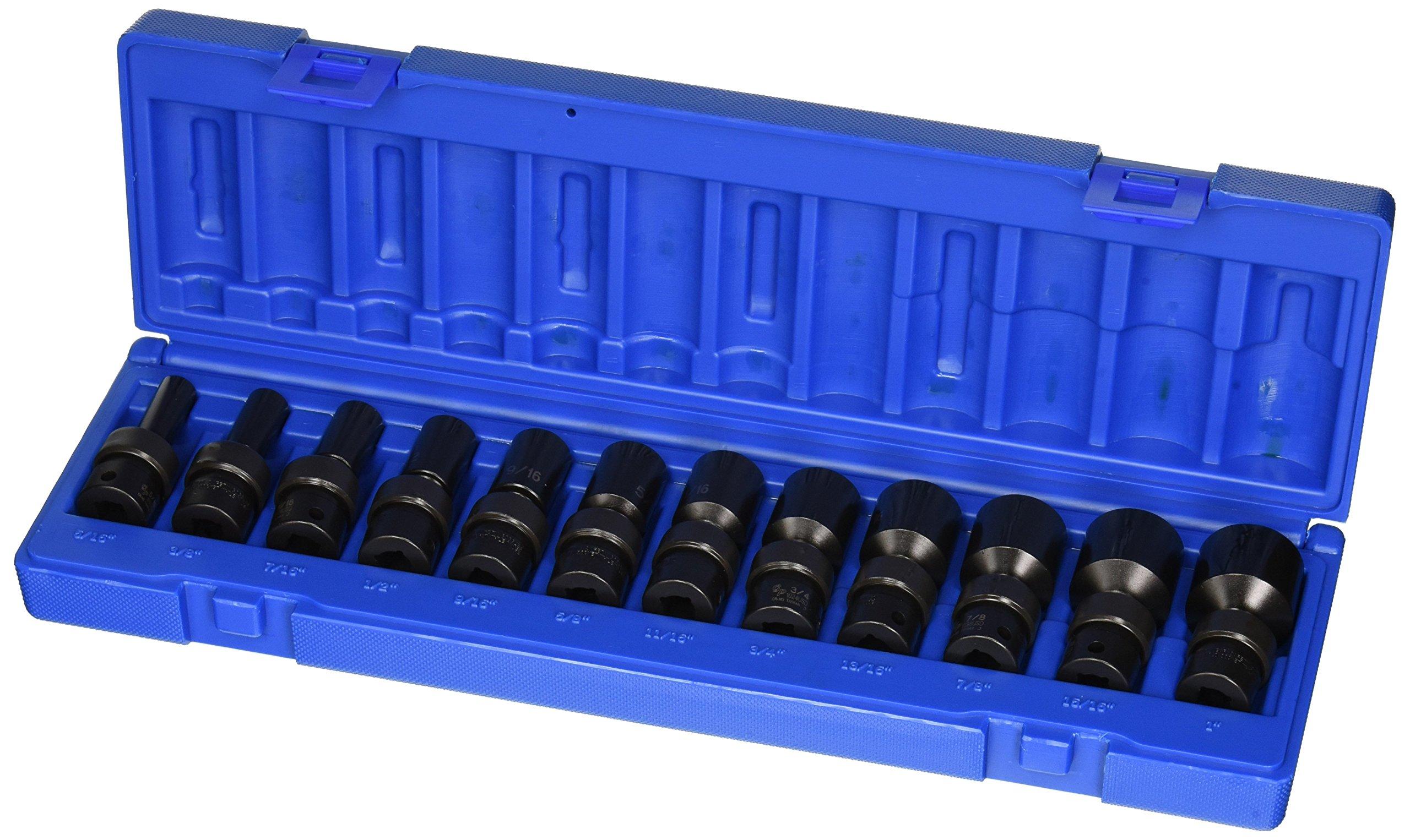Grey Pneumatic (1212USD) 3/8'' Drive 12-Piece Semi-Deep SAE Universal Socket Set