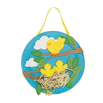 Amazon Com Fun Express Spring Bird S Nest Paper Plate Craft Kit