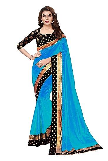 ad104d8a9007b0 Anni Designer Women s Sana Paper Silk Saree With Banarasi Silk Blouse    Border (Blue)