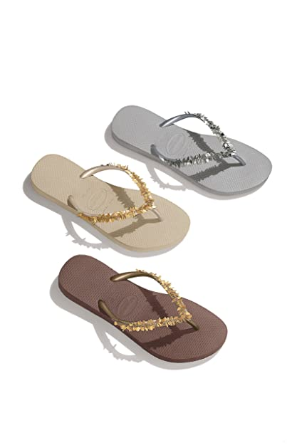 73571f657409 Havaianas LIMITED EDITION SLIM LEAVES Special Collection Premier Womens  Sand Beige Gold Flip Flops Sandals UK 6-7 SS12  Amazon.co.uk  Shoes   Bags
