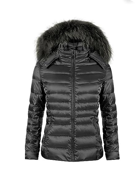 SOVENTUS FASHION Damen Winterjacke mit Echtfell DAUNEN Jacke Winter Fellkapuze Fell Echtpelz