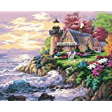 Paint by Numbers-DIY Digital Canvas Oil Painting Adults Kids Paint by Number Kits Home Decorations- Spring Lighthouse 16 * 20 inch