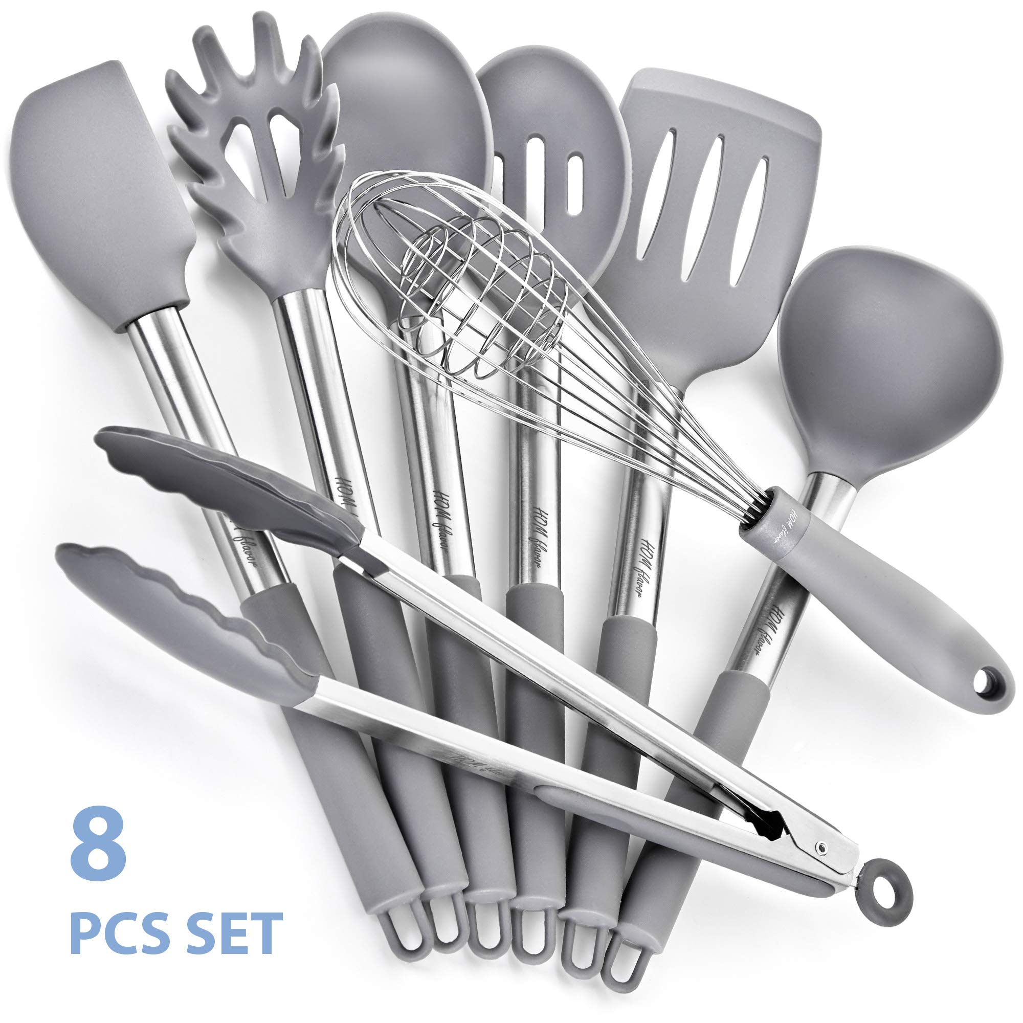 8 Silicone Stainless Steel Nonstick Kitchen Utensil set Silicone Stainless Steel Cooking Utensils set Non-Scratch Cooking Spatulas Kitchen Tool Set and Gadgets