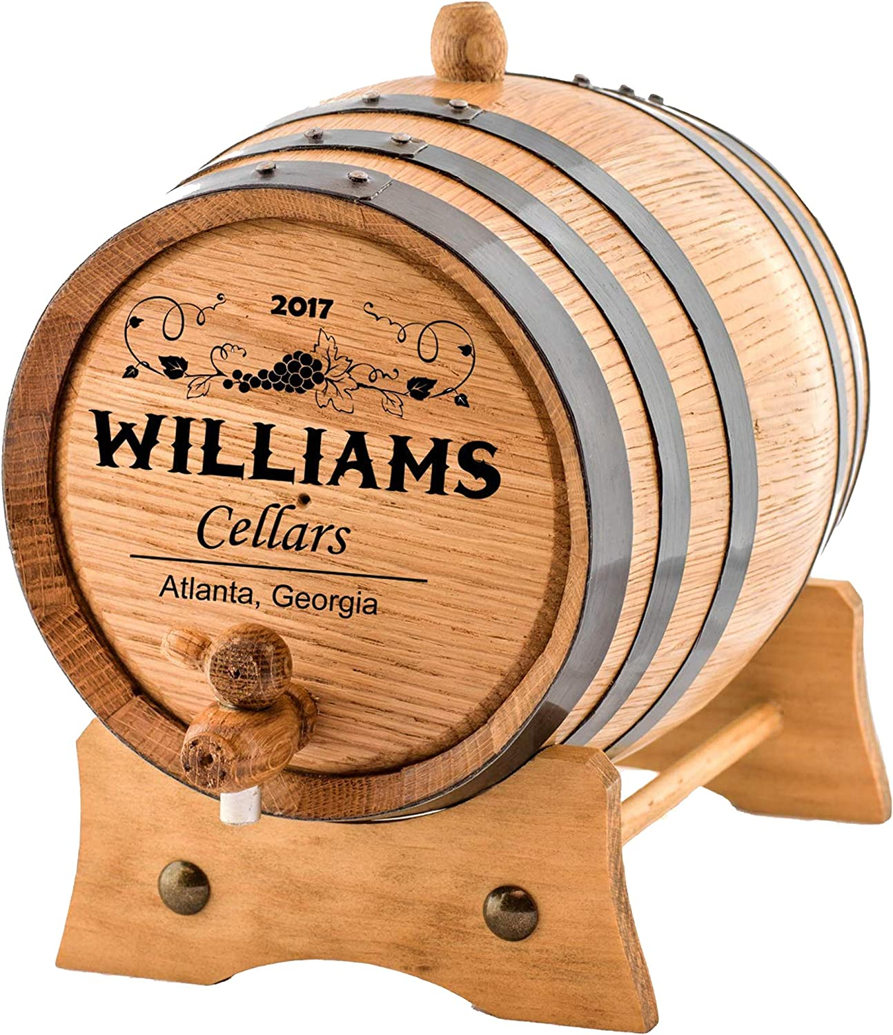 The Outlaw Kit from Skeeters Reserve Outlaw Gear Made by American Oak Barrel - Personalized Whiskey Making Kit 063 Oak, Black Hoops, 1 Liter - Create Your Own Southern Whiskey