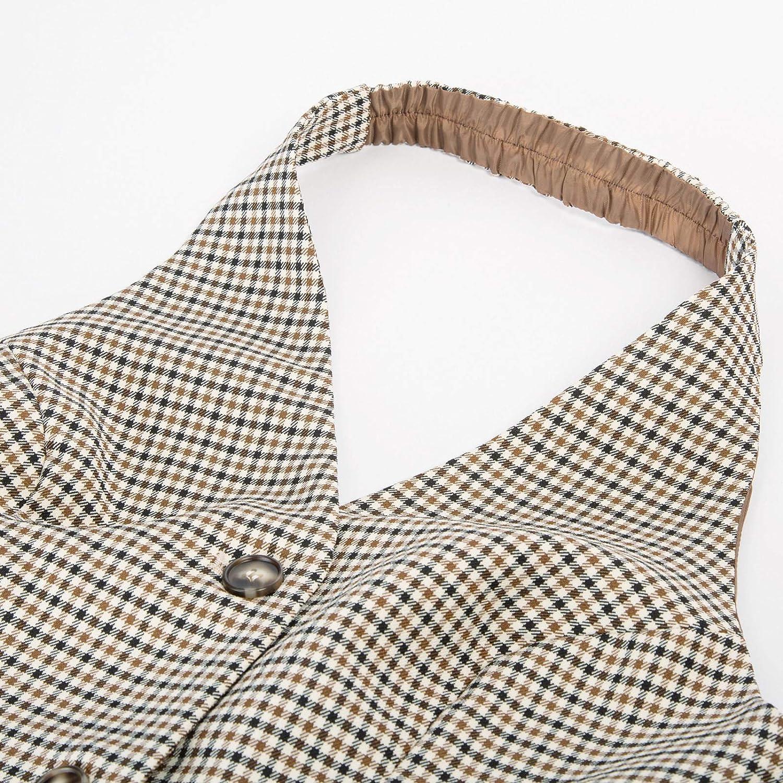 Belle Poque Women 50s Halter V-Neck Vest Retro Vintage Suit Waistcoat 2229