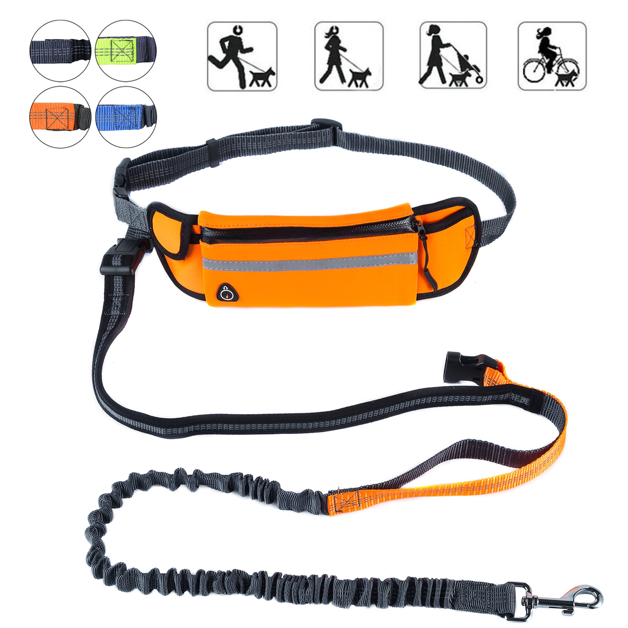PetforCity Hands Free Dog Running Leash with Waist Pocket Adjustable Belt Shock Absorbing Bungee Fits up to 45''
